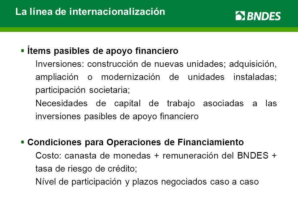 La línea de internacionalización Ítems pasibles de apoyo financiero Inversiones: construcción de nuevas unidades; adquisición, ampliación o modernizac