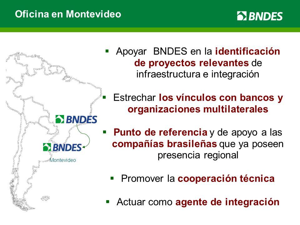 Oficina en Montevideo Montevideo Apoyar BNDES en la identificación de proyectos relevantes de infraestructura e integración Estrechar los vínculos con