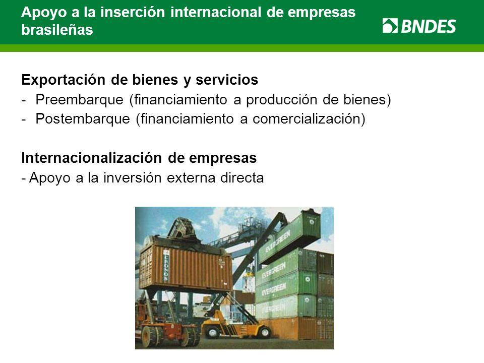 Exportación de bienes y servicios -Preembarque (financiamiento a producción de bienes) -Postembarque (financiamiento a comercialización) Internacional