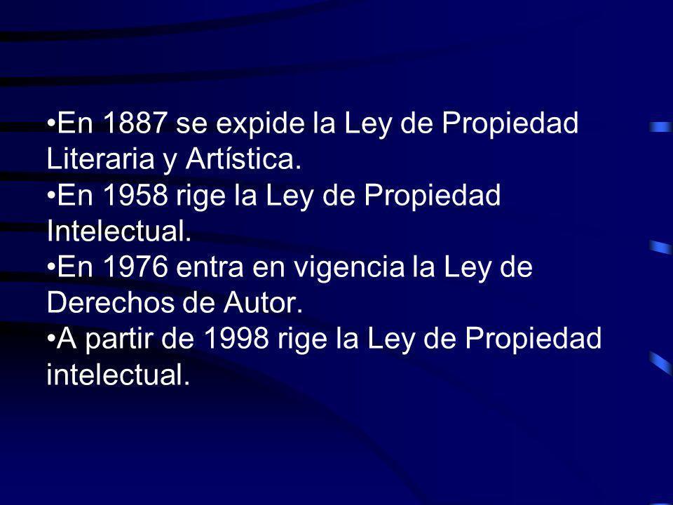 En 1887 se expide la Ley de Propiedad Literaria y Artística. En 1958 rige la Ley de Propiedad Intelectual. En 1976 entra en vigencia la Ley de Derecho