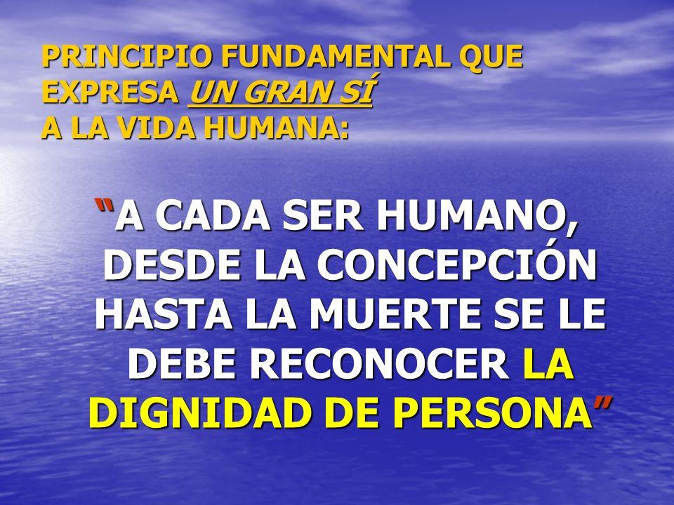 PRINCIPIO FUNDAMENTAL QUE EXPRESA UN GRAN SÍ A LA VIDA HUMANA: A CADA SER HUMANO, DESDE LA CONCEPCIÓN HASTA LA MUERTE SE LE DEBE RECONOCER LA DIGNIDAD