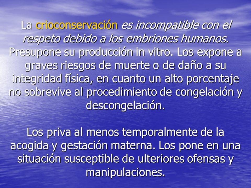 La crioconservación es incompatible con el respeto debido a los embriones humanos. Presupone su producción in vitro. Los expone a graves riesgos de mu