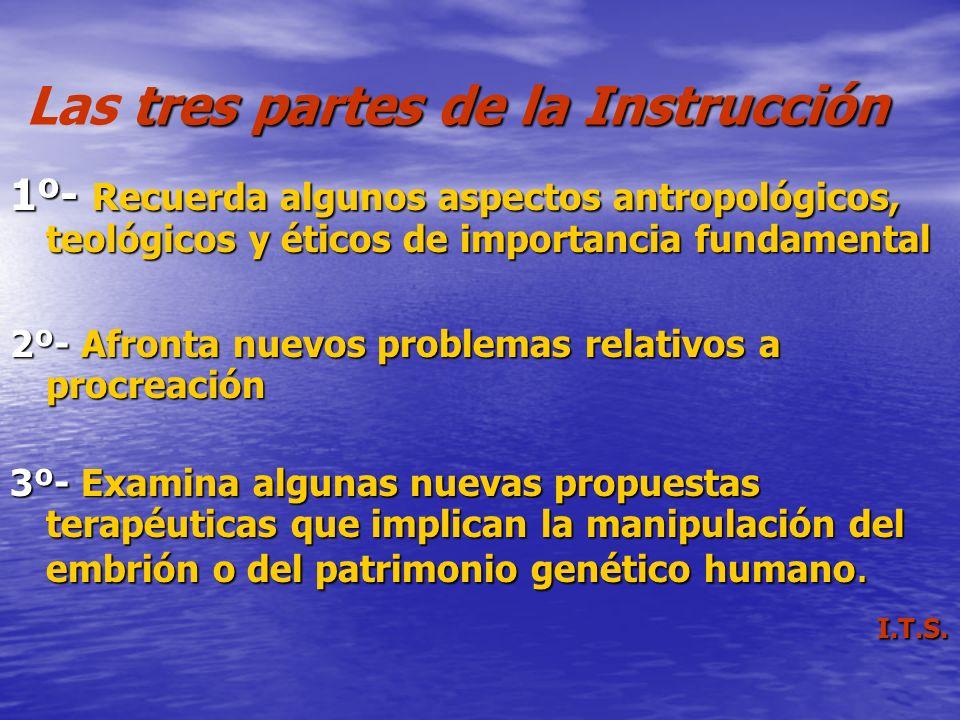tres partes de la Instrucción Las tres partes de la Instrucción 1º- Recuerda algunos aspectos antropológicos, teológicos y éticos de importancia funda