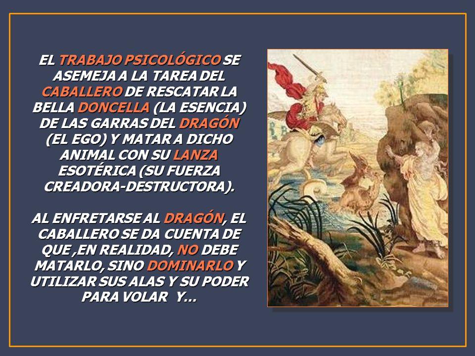 EL TRABAJO PSICOLÓGICO SE ASEMEJA A LA TAREA DEL CABALLERO DE RESCATAR LA BELLA DONCELLA (LA ESENCIA) DE LAS GARRAS DEL DRAGÓN (EL EGO) Y MATAR A DICH