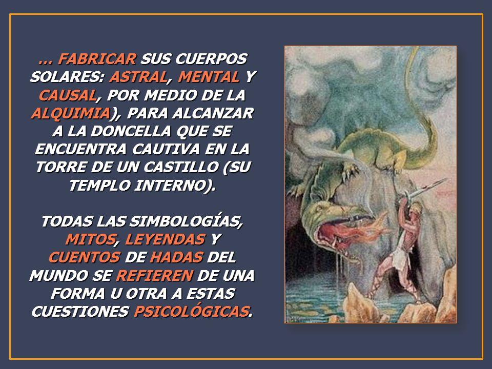 … FABRICAR SUS CUERPOS SOLARES: ASTRAL, MENTAL Y CAUSAL, POR MEDIO DE LA ALQUIMIA), PARA ALCANZAR A LA DONCELLA QUE SE ENCUENTRA CAUTIVA EN LA TORRE D