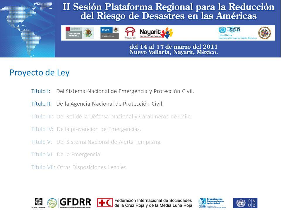 Título I: Del Sistema Nacional de Emergencia y Protección Civil.