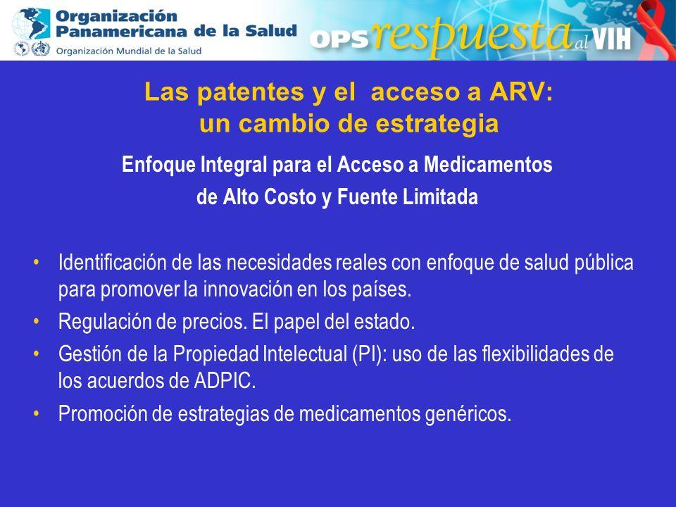 2003 Las patentes y el acceso a ARV: un cambio de estrategia Enfoque Integral para el Acceso a Medicamentos de Alto Costo y Fuente Limitada Identifica