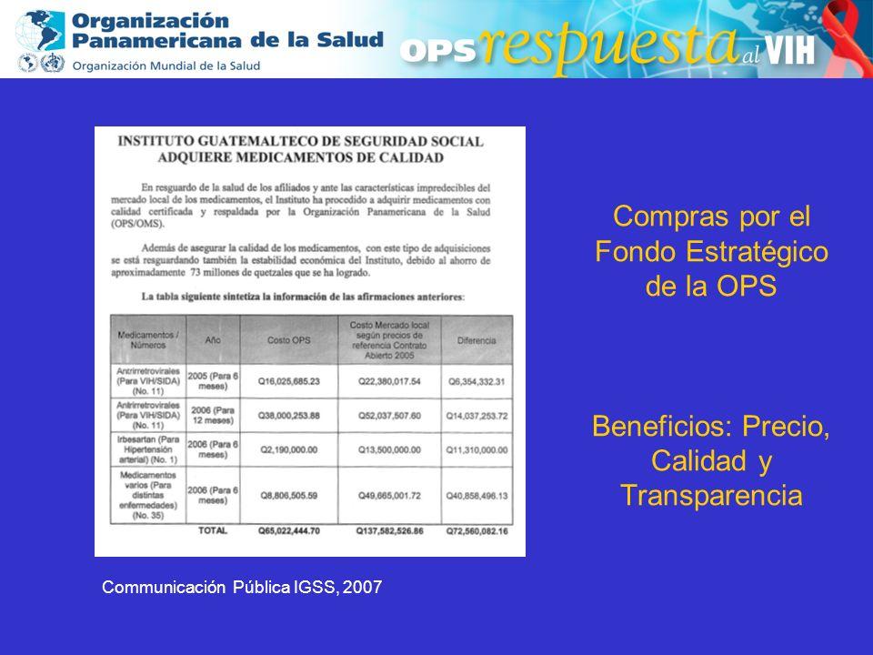 2003 Compras por el Fondo Estratégico de la OPS Beneficios: Precio, Calidad y Transparencia Communicación Pública IGSS, 2007