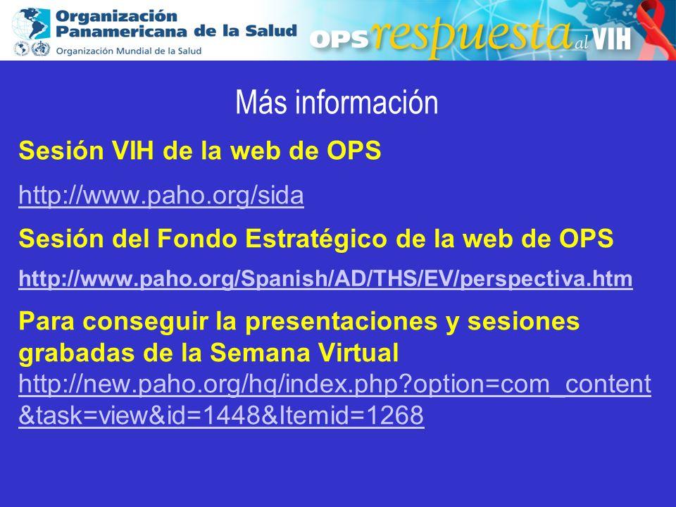 2003 Más información Sesión VIH de la web de OPS http://www.paho.org/sida Sesión del Fondo Estratégico de la web de OPS http://www.paho.org/Spanish/AD