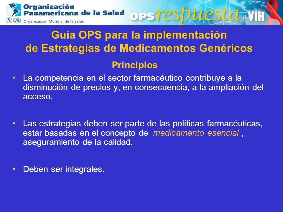 2003 Principios La competencia en el sector farmacéutico contribuye a la disminución de precios y, en consecuencia, a la ampliación del acceso. Las es