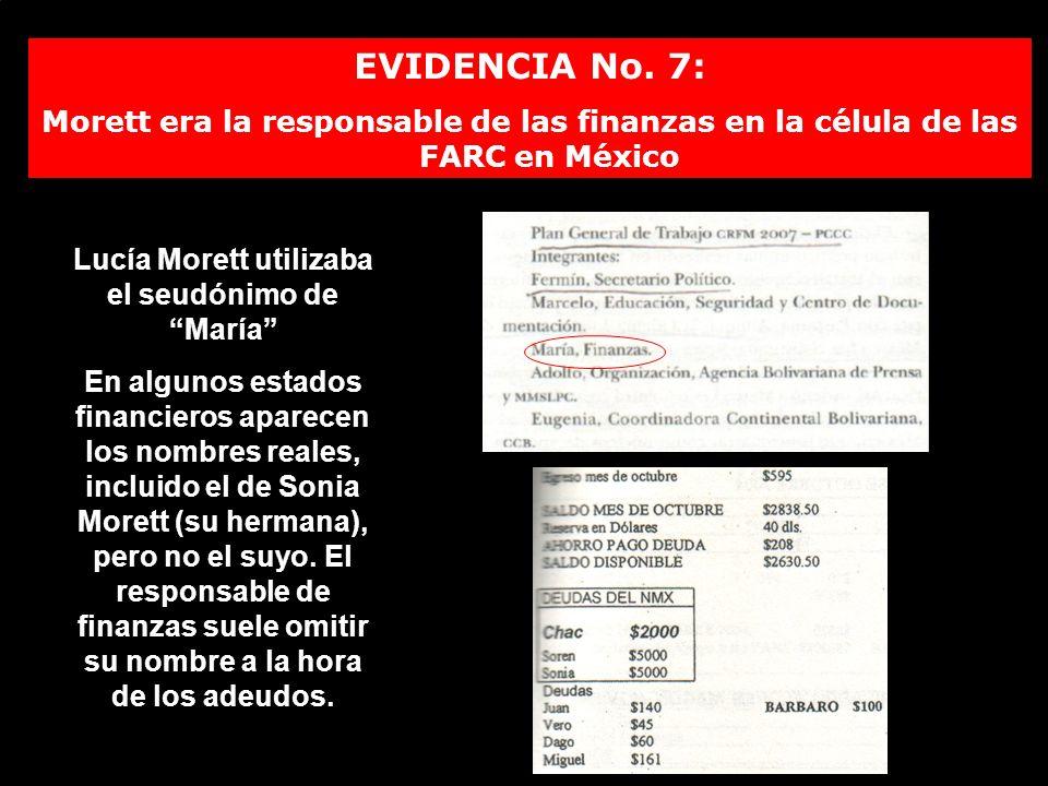 EVIDENCIA No. 7: Morett era la responsable de las finanzas en la célula de las FARC en México Lucía Morett utilizaba el seudónimo de María En algunos