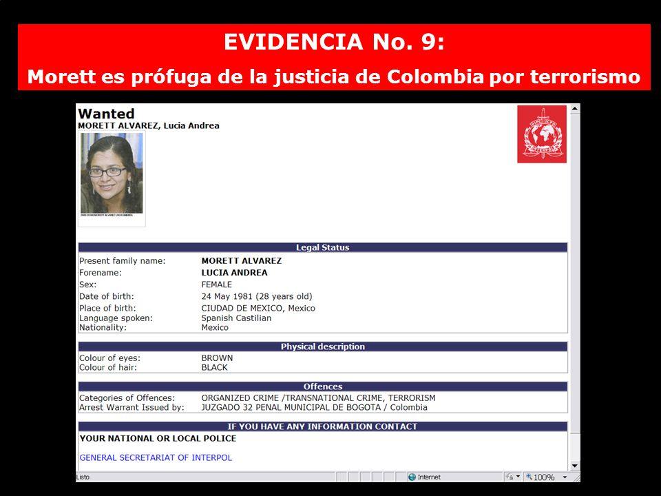 EVIDENCIA No. 9: Morett es prófuga de la justicia de Colombia por terrorismo