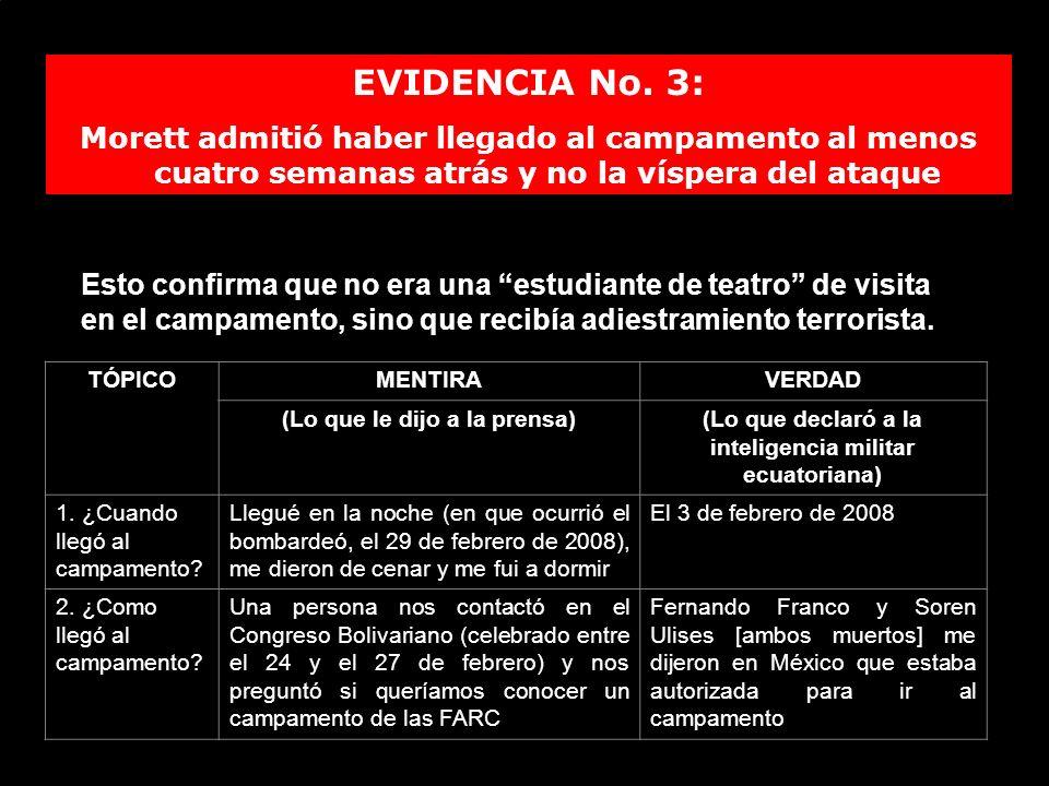 EVIDENCIA No. 3: Morett admitió haber llegado al campamento al menos cuatro semanas atrás y no la víspera del ataque TÓPICOMENTIRAVERDAD (Lo que le di