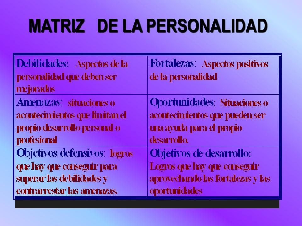 MATRIZ DE LA PERSONALIDAD MATRIZ DE LA PERSONALIDAD