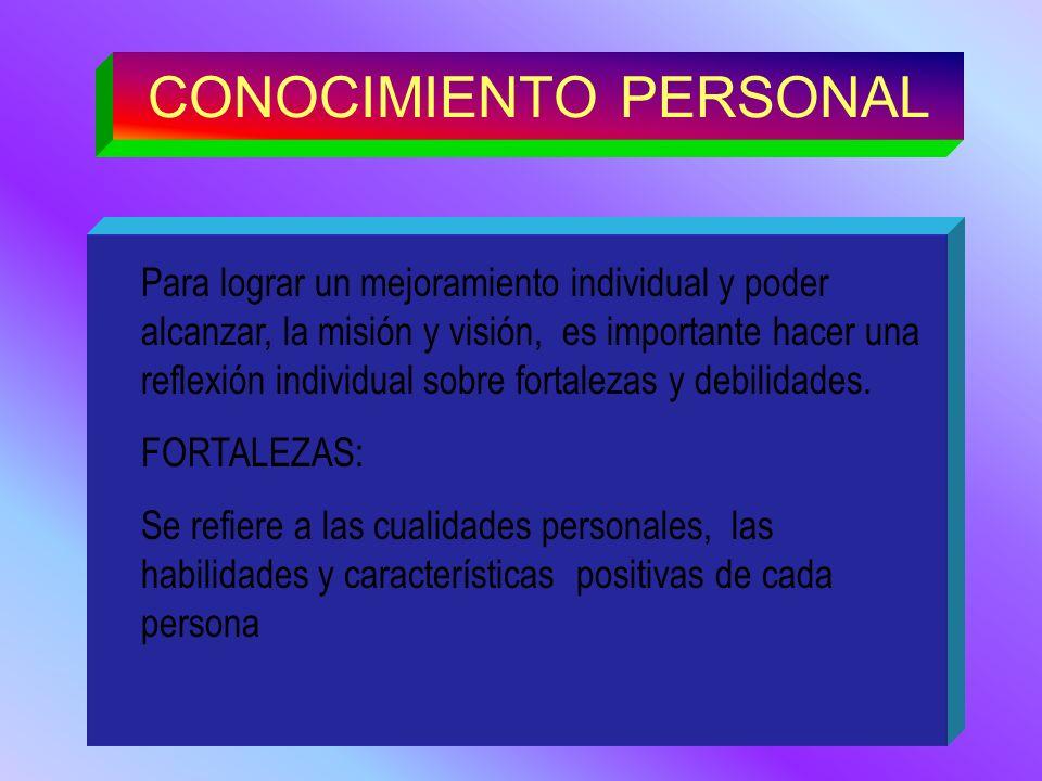 CONOCIMIENTO PERSONAL Para lograr un mejoramiento individual y poder alcanzar, la misión y visión, es importante hacer una reflexión individual sobre