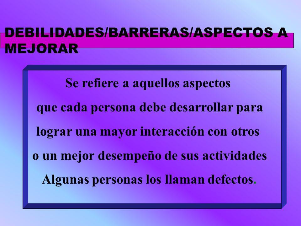 DEBILIDADES/BARRERAS/ASPECTOS A MEJORAR Se refiere a aquellos aspectos que cada persona debe desarrollar para lograr una mayor interacción con otros o