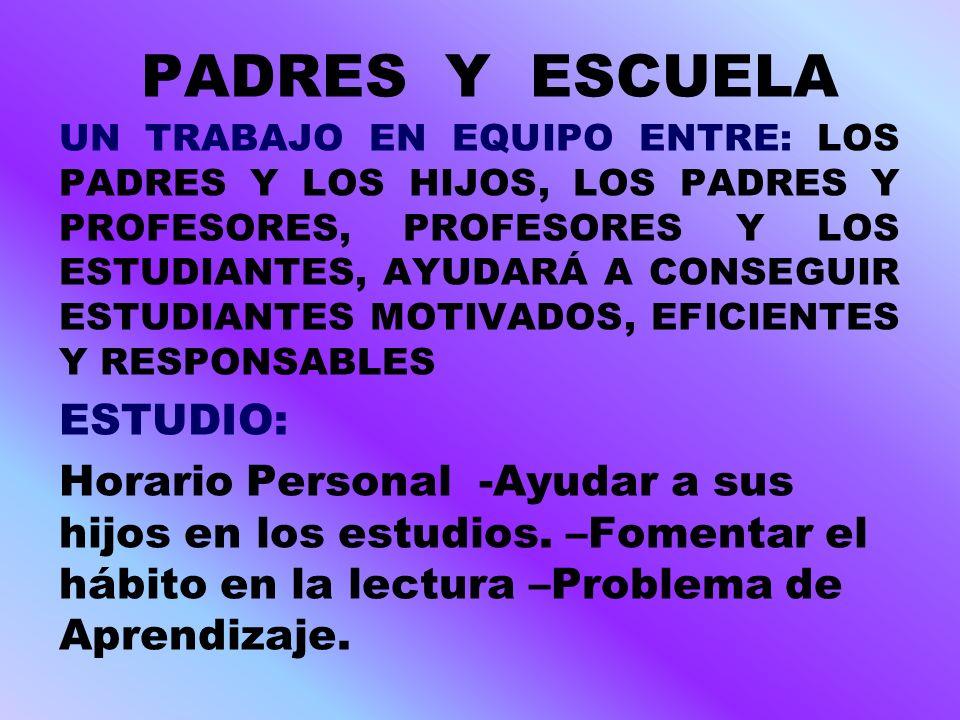 PADRES Y ESCUELA UN TRABAJO EN EQUIPO ENTRE: LOS PADRES Y LOS HIJOS, LOS PADRES Y PROFESORES, PROFESORES Y LOS ESTUDIANTES, AYUDARÁ A CONSEGUIR ESTUDI