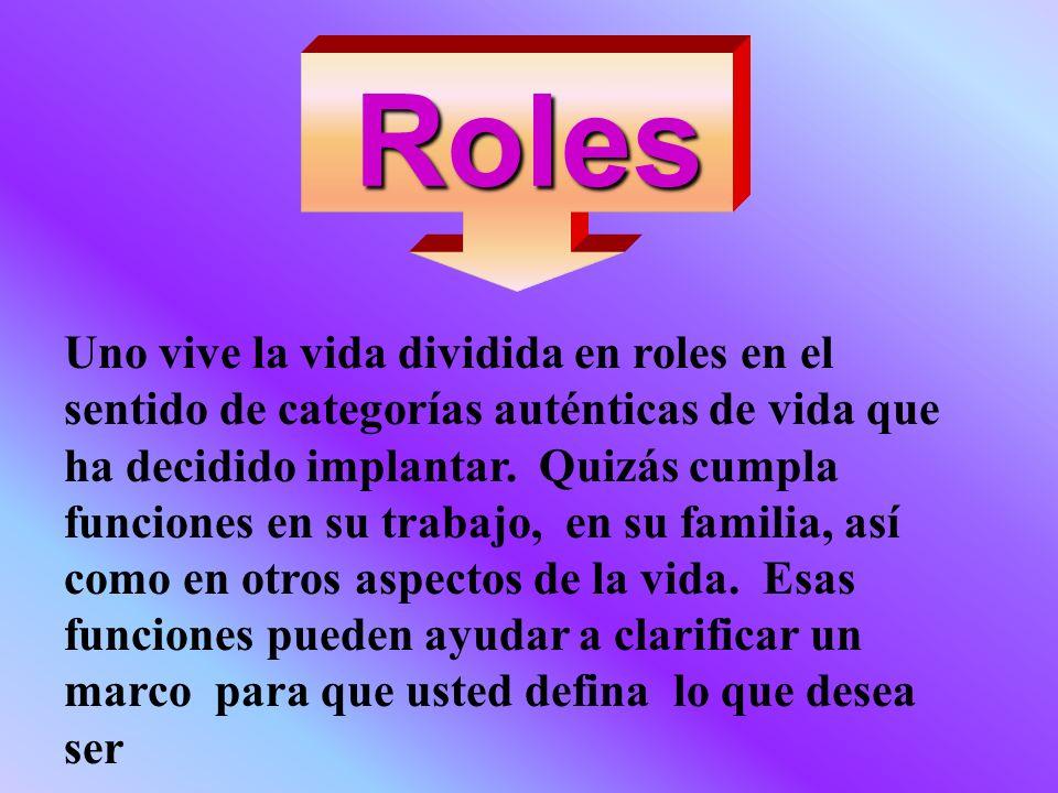 Roles Uno vive la vida dividida en roles en el sentido de categorías auténticas de vida que ha decidido implantar. Quizás cumpla funciones en su traba