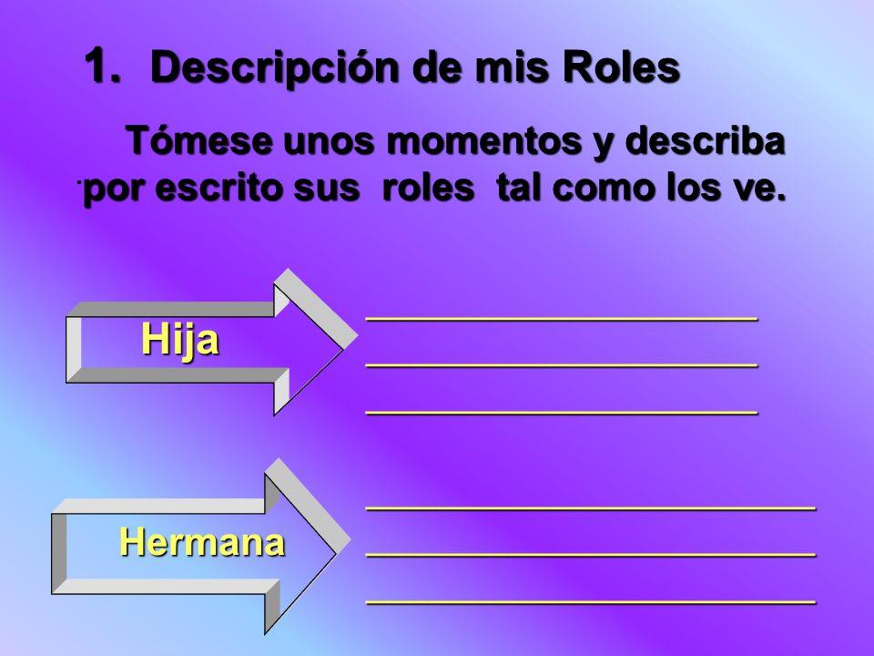 1. Descripción de mis Roles Tómese unos momentos y describa por escrito sus roles tal como los ve. Tómese unos momentos y describa por escrito sus rol