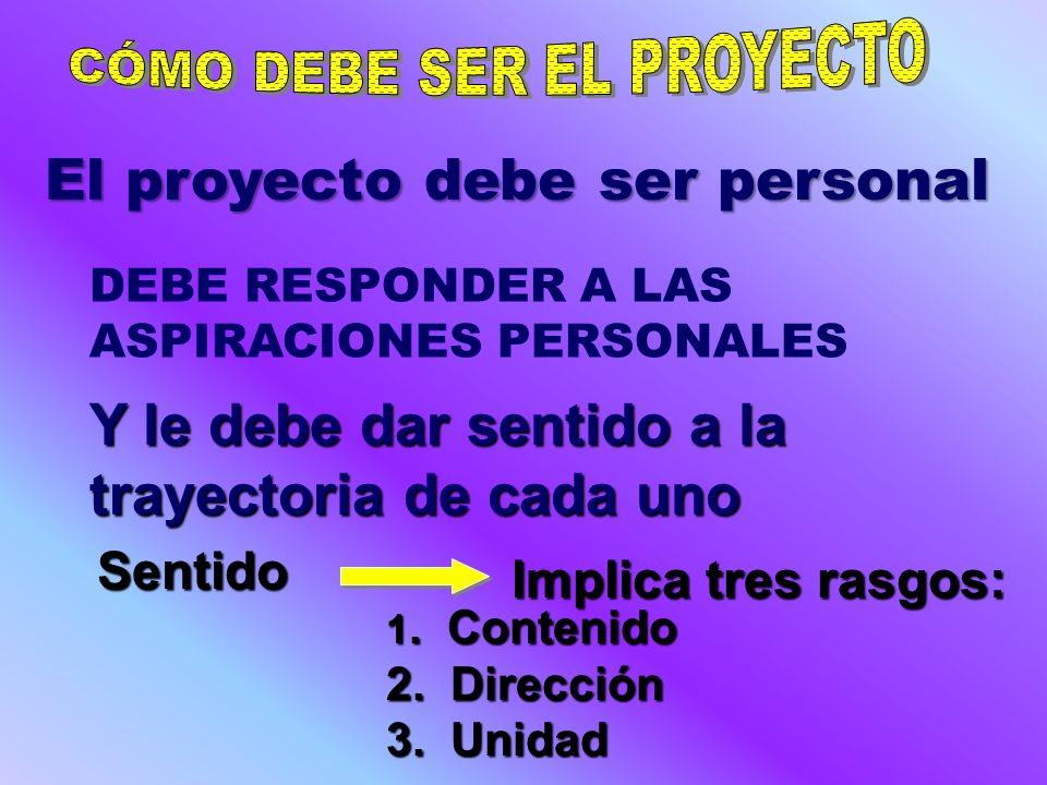 1.El Proyecto de vida es siempre un proceso 2.Se debe proyectar el ser, el hacer y el tener 3.
