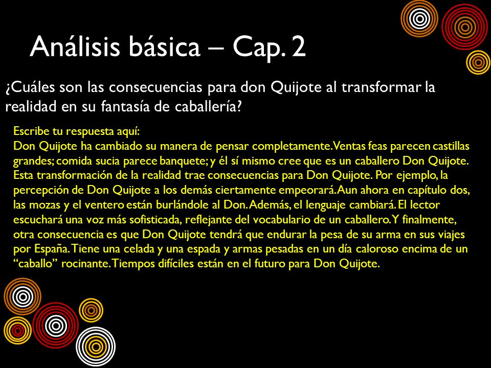 Análisis básica – Cap. 2 ¿Cuáles son las consecuencias para don Quijote al transformar la realidad en su fantasía de caballería? Escribe tu respuesta