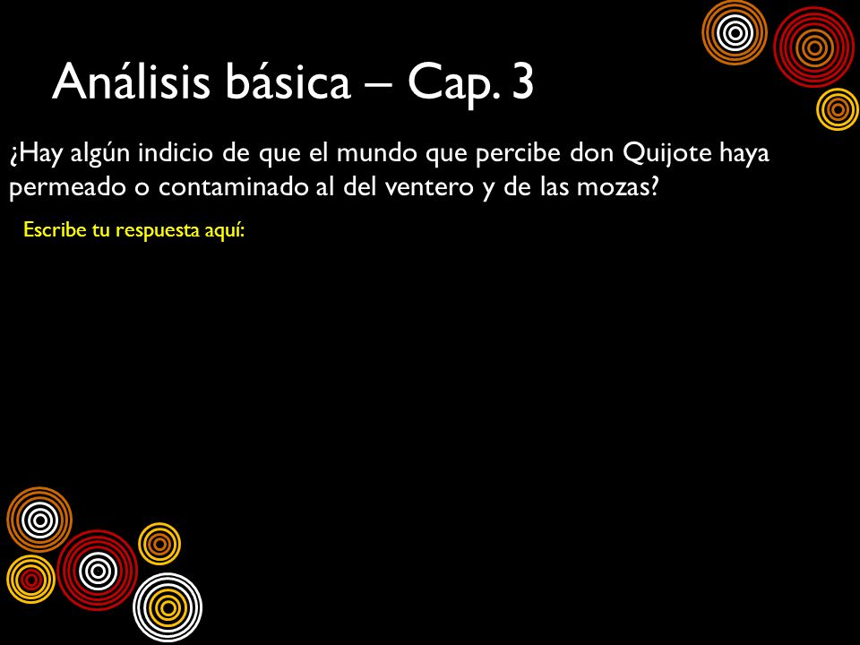Análisis básica – Cap. 3 ¿Hay algún indicio de que el mundo que percibe don Quijote haya permeado o contaminado al del ventero y de las mozas? Escribe