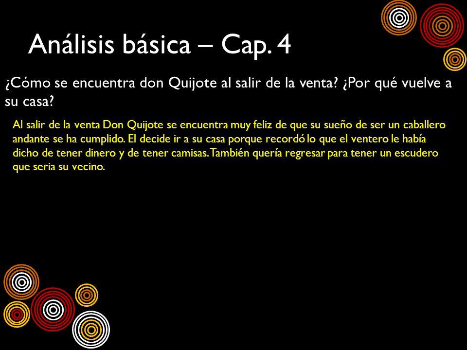 Análisis básica – Cap. 4 ¿Cómo se encuentra don Quijote al salir de la venta? ¿Por qué vuelve a su casa? Al salir de la venta Don Quijote se encuentra