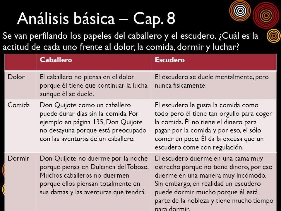 Análisis básica – Cap. 8 Se van perfilando los papeles del caballero y el escudero. ¿Cuál es la actitud de cada uno frente al dolor, la comida, dormir