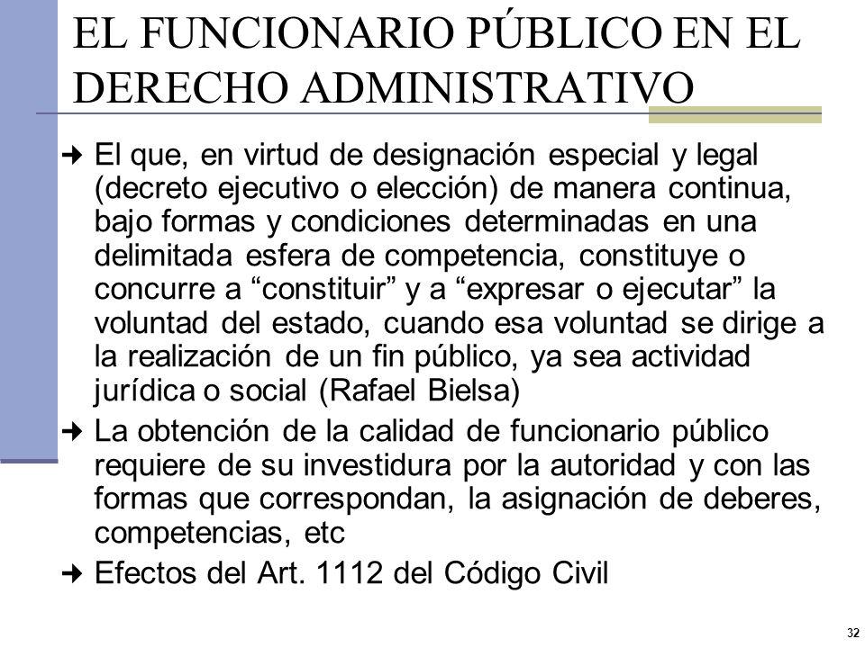 31 FUNCIONARIO PÚBLICO (ART 77 CP) Por Funcionario Público y Empleado Público Se designa a todo el que participa accidental o permanentemente del ejer