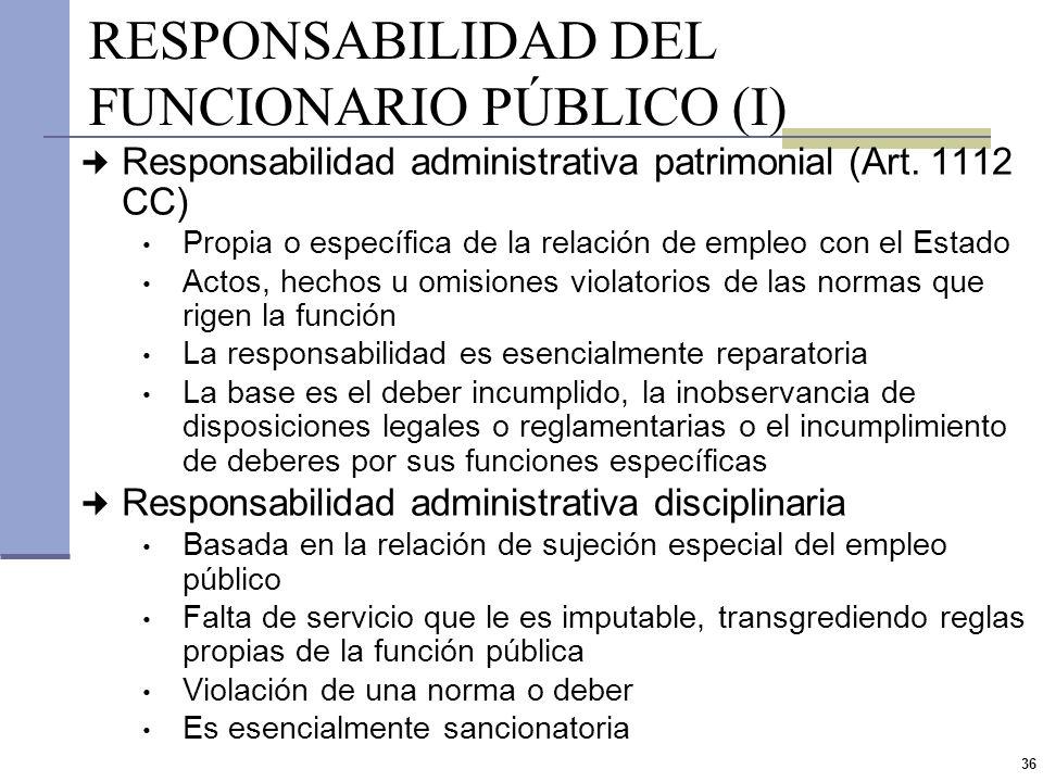35 BASE CONSTITUCIONAL DE LA RESPONSABILIDAD Convención de las Naciones Unidas contra la corrupción (aprobada por ley 26097) Responsabilidad indiscuti