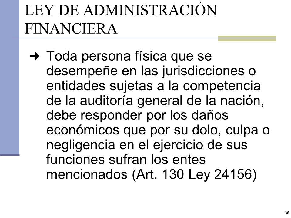 37 RESPONSABILIDAD DEL FUNCIONARIO PÚBLICO (II) Responsabilidad penal Comportamiento antijurídico y culpable Responsabilidad civil Accionar ilegítimo,