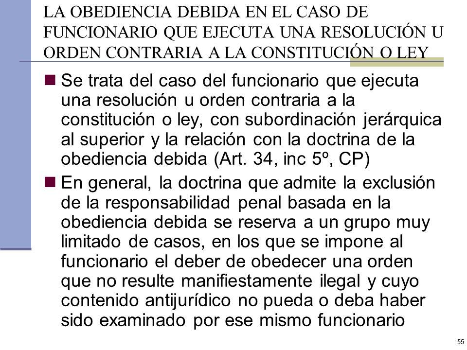 54 ABUSO GENÉRICO DE AUTORIDAD (II) El sujeto activo debe necesariamente ser un funcionario público El exceso funcional constituye usurpación de autor