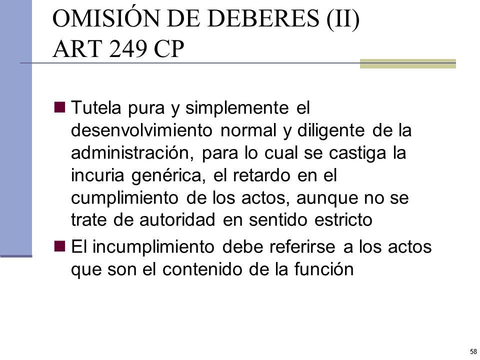 57 OMISIÓN DE DEBERES (I) ART 249 CP Multa desde $ 750 a $ 12.500 e inhabilitación especial de 1 mes a 1 año Funcionario público que ilegalmente omiti
