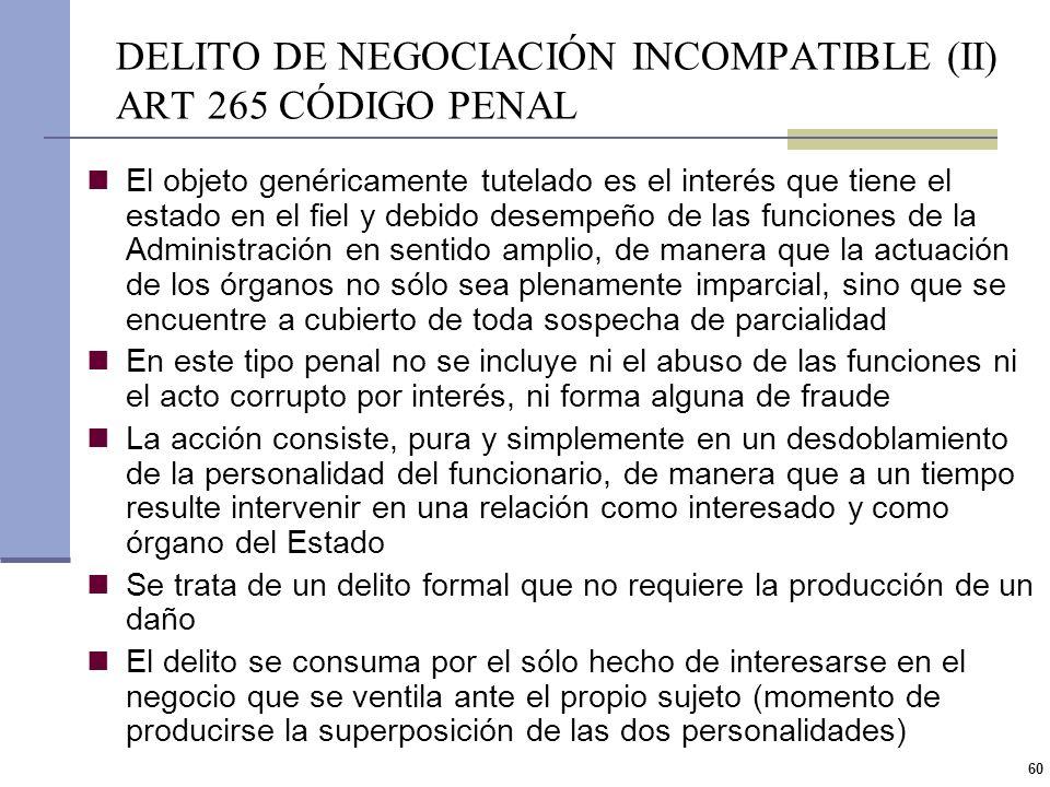 59 DELITO DE NEGOCIACIÓN INCOMPATIBLE (I) ART 265 CÓDIGO PENAL Prisión de 1 a 6 años e inhabilitación especial perpetua Funcionario público que, direc