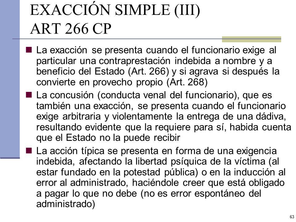 62 EXACCIÓN SIMPLE (II) ART 266 CP El sujeto activo es el funcionario público, no requiriéndose que se encuentre capacitado para la percepción de dere