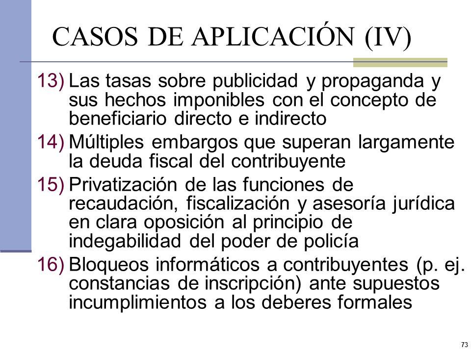 72 CASOS DE APLICACIÓN (III) 8)Cambios en la interpretación de las normas legales y efectos retroactivos (Juan Fullana CSN) 9)Coartar el derecho de de