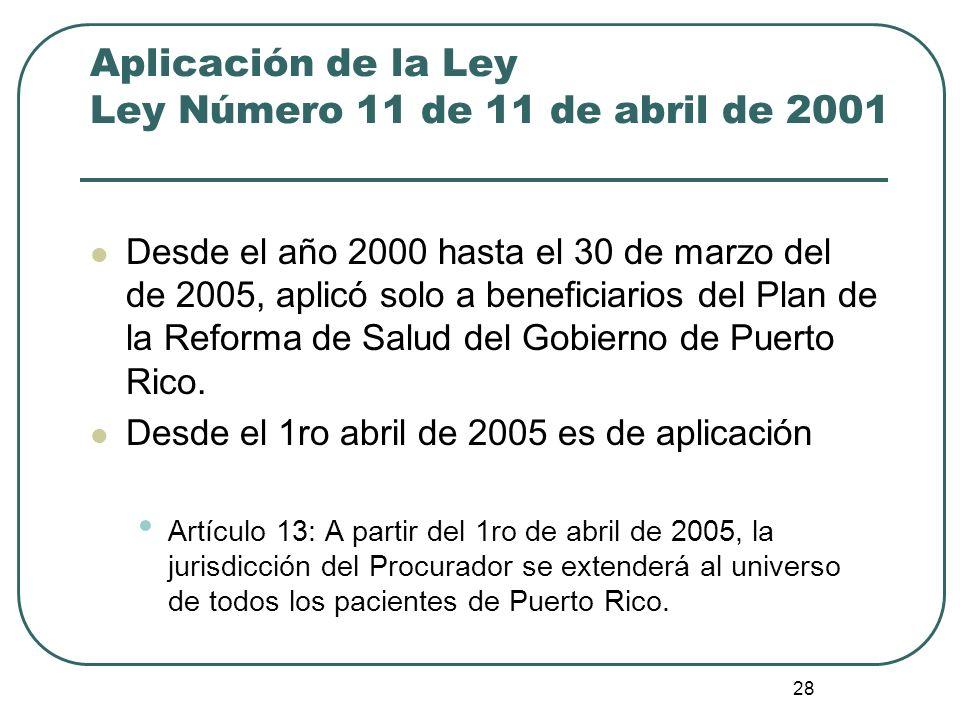 28 Aplicación de la Ley Ley Número 11 de 11 de abril de 2001 Desde el año 2000 hasta el 30 de marzo del de 2005, aplicó solo a beneficiarios del Plan