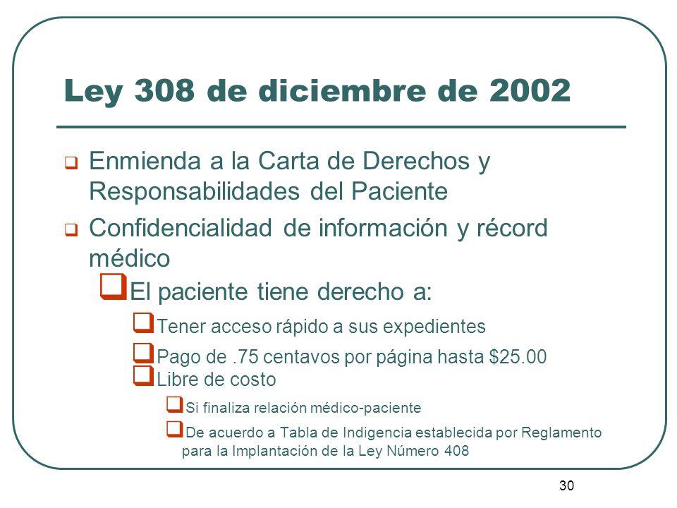 30 Ley 308 de diciembre de 2002 Enmienda a la Carta de Derechos y Responsabilidades del Paciente Confidencialidad de información y récord médico El pa