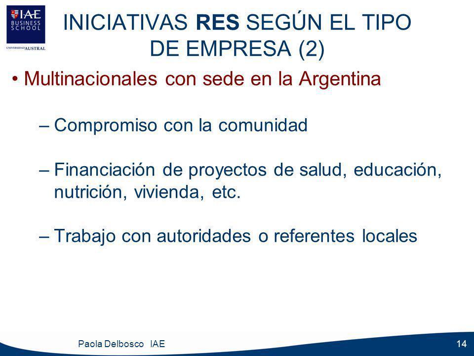 Paola Delbosco IAE 14 INICIATIVAS RES SEGÚN EL TIPO DE EMPRESA (2) Multinacionales con sede en la Argentina –Compromiso con la comunidad –Financiación de proyectos de salud, educación, nutrición, vivienda, etc.