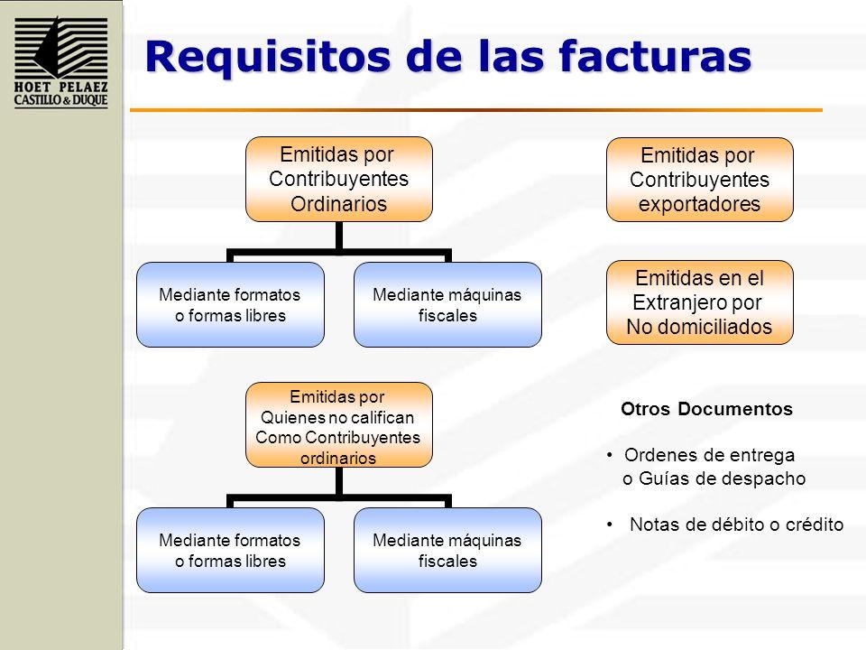 Requisitos de las facturas Emitidas por Contribuyentes Ordinarios Mediante formatos o formas libres Mediante máquinas fiscales Otros Documentos Ordene