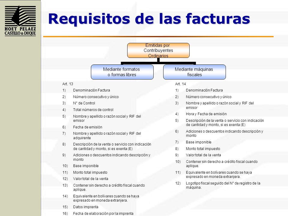 Requisitos de las facturas Emitidas por Contribuyentes Ordinarios Mediante formatos o formas libres Mediante máquinas fiscales Art. 13 1)Denominación