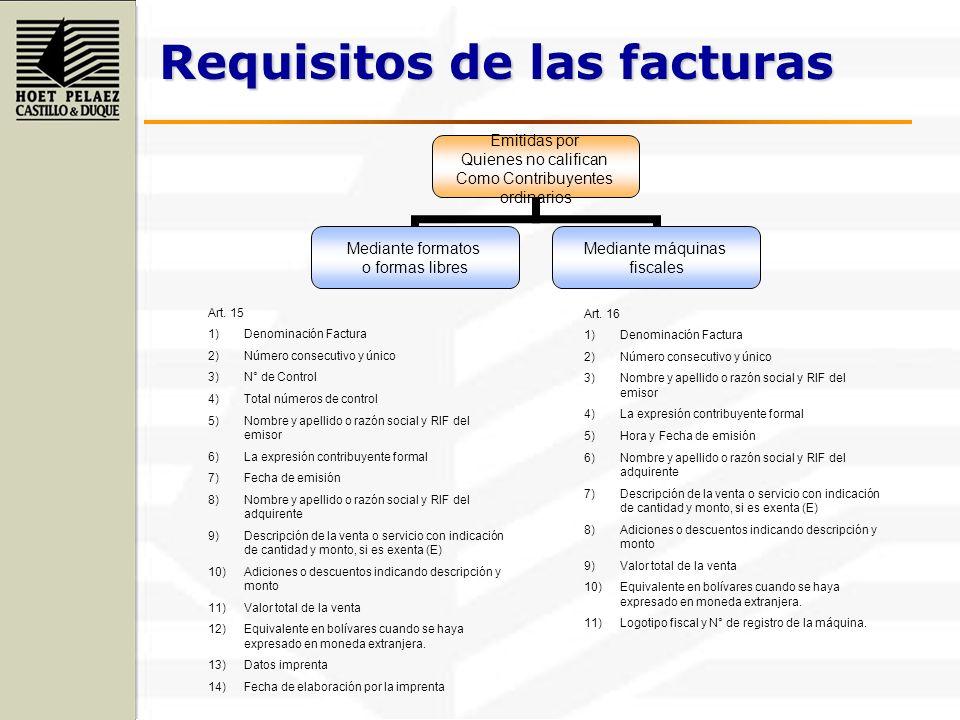 Requisitos de las facturas Emitidas por Quienes no califican Como Contribuyentes ordinarios Mediante formatos o formas libres Mediante máquinas fiscal