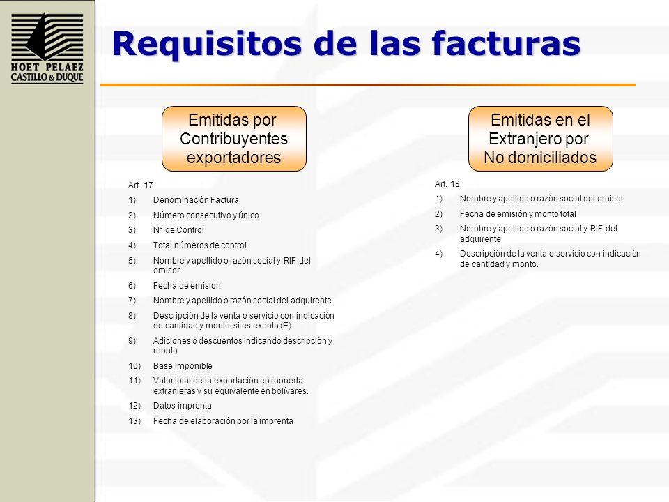 Requisitos de las facturas Emitidas por Contribuyentes exportadores Emitidas en el Extranjero por No domiciliados Art. 17 1)Denominación Factura 2)Núm