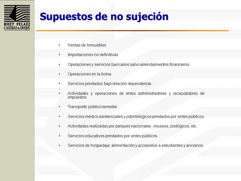 Supuestos de no sujeción Ventas de Inmuebles Importaciones no definitivas Operaciones y servicios bancarios salvo arrendamientos financieros. Operacio