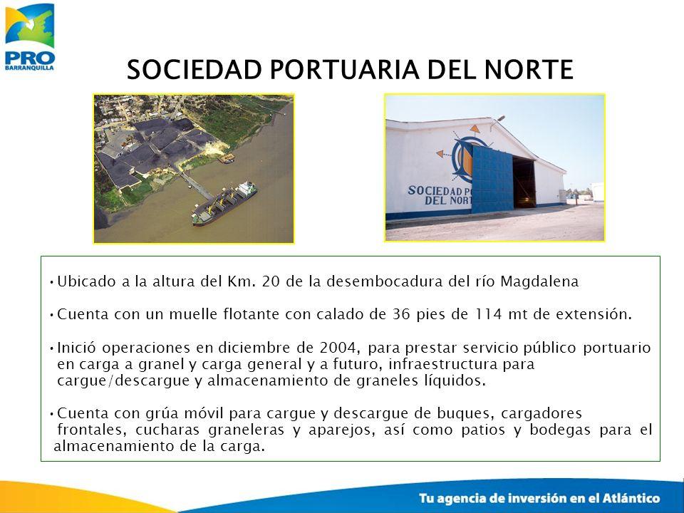 SOCIEDAD PORTUARIA DEL NORTE Ubicado a la altura del Km. 20 de la desembocadura del río Magdalena Cuenta con un muelle flotante con calado de 36 pies