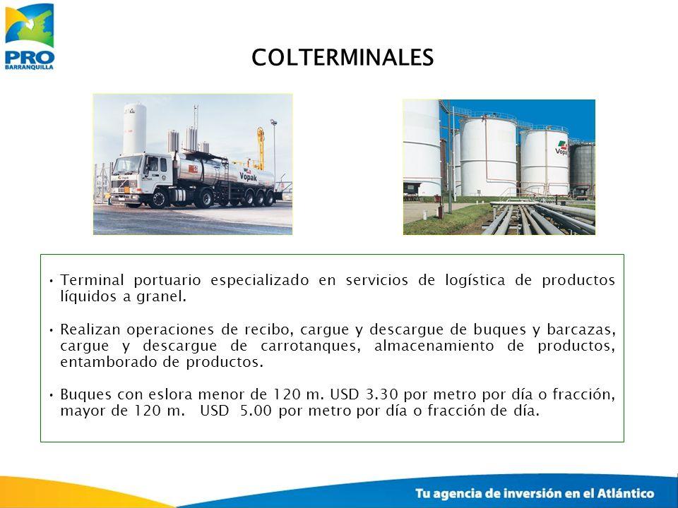 Terminal portuario especializado en servicios de logística de productos líquidos a granel. Realizan operaciones de recibo, cargue y descargue de buque