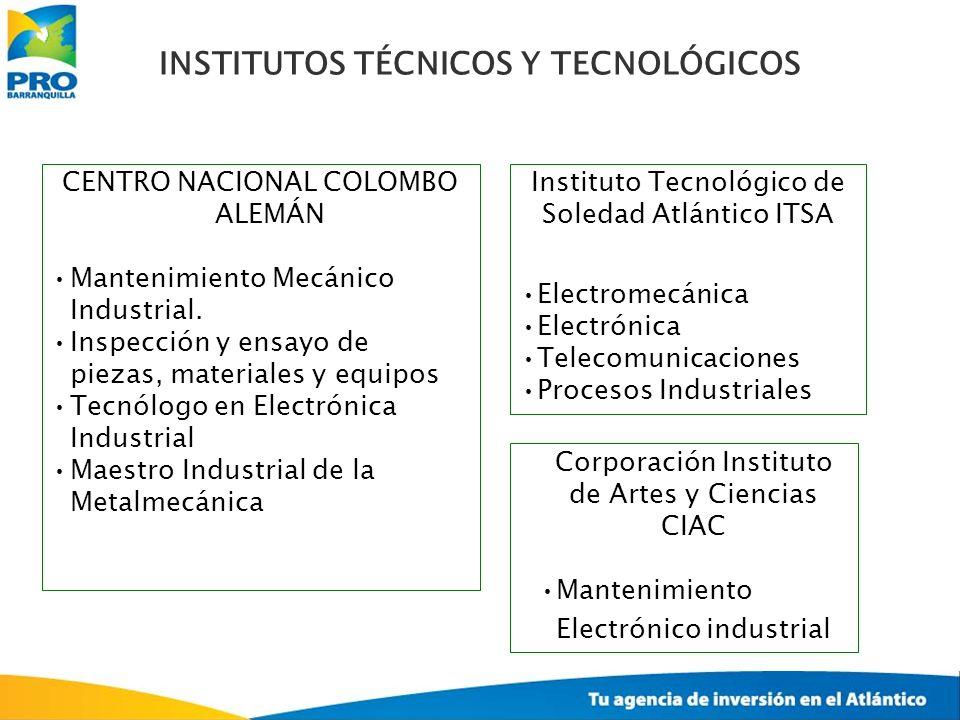 Instituto Tecnológico de Soledad Atlántico ITSA Electromecánica Electrónica Telecomunicaciones Procesos Industriales CENTRO NACIONAL COLOMBO ALEMÁN Ma