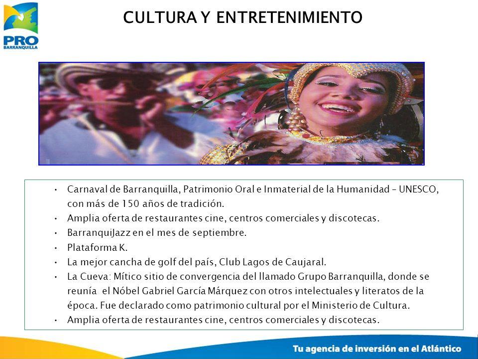 Carnaval de Barranquilla, Patrimonio Oral e Inmaterial de la Humanidad – UNESCO, con más de 150 años de tradición. Amplia oferta de restaurantes cine,