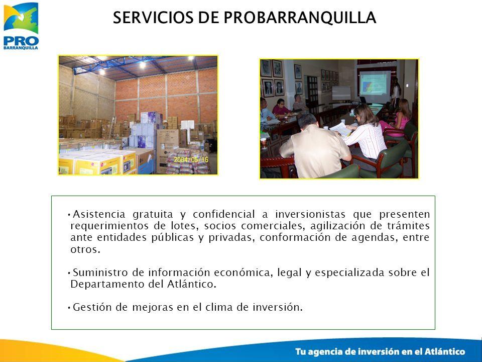 SERVICIOS DE PROBARRANQUILLA Asistencia gratuita y confidencial a inversionistas que presenten requerimientos de lotes, socios comerciales, agilizació