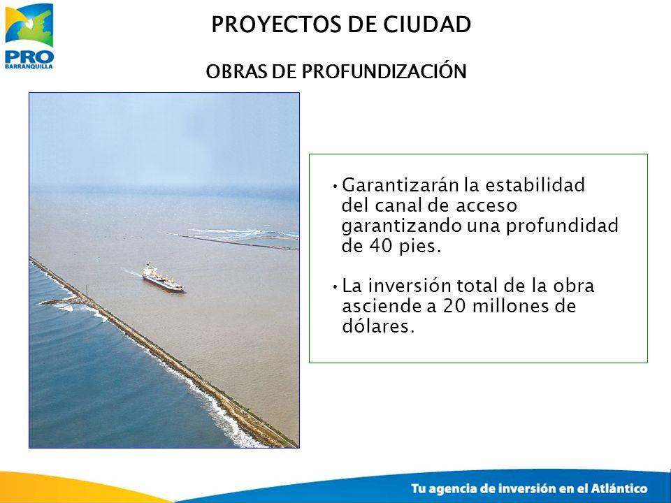 OBRAS DE PROFUNDIZACIÓN Garantizarán la estabilidad del canal de acceso garantizando una profundidad de 40 pies. La inversión total de la obra asciend